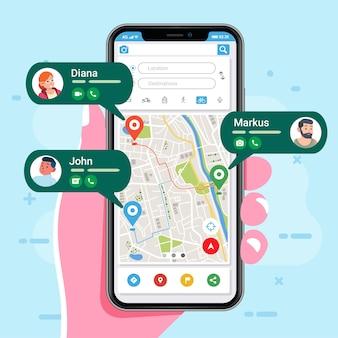 Lokalizacja osób jest wyświetlana w aplikacji mapy w smartfonie, aplikacja pokazuje lokalizację i kontakt osób