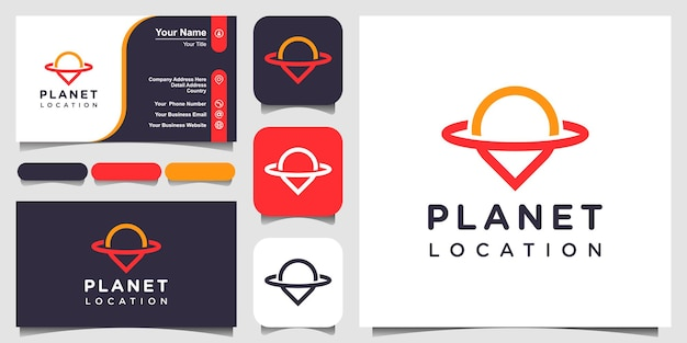 Lokalizacja planety ze stylem grafiki liniowej, logo i projektem wizytówki.