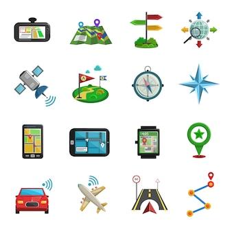 Lokalizacja płaski zestaw ikon