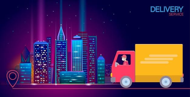 Lokalizacja punktu mapy 3d dostawa na całym świecie samochód ciężarowy