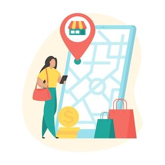 Lokalizacja sklepu. kobieca postać z kreskówki za pomocą aplikacji mobilnego sklepu do wyszukiwania lokalizacji sklepu na mapie. płaska ilustracja wektorowa