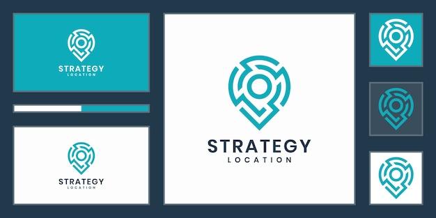 Lokalizacja strategii lub logo technologii punktowej. kreatywna technologia strategii pin, elektronika, cyfrowa, ikona lub koncepcja projektu