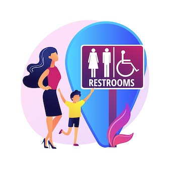 Lokalizacja toalet publicznych. znak toaletowy, toalety męskie i żeńskie, symbol wc i geotag. pan i pani sylwetki na szyld toalety.