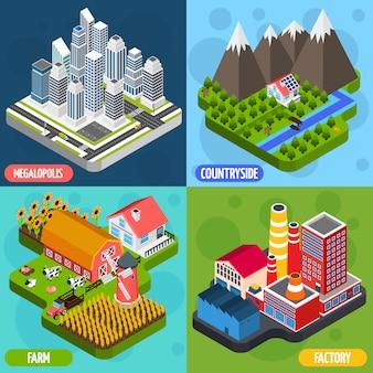 Lokalizacje 4 izometryczne ikony kwadratowe