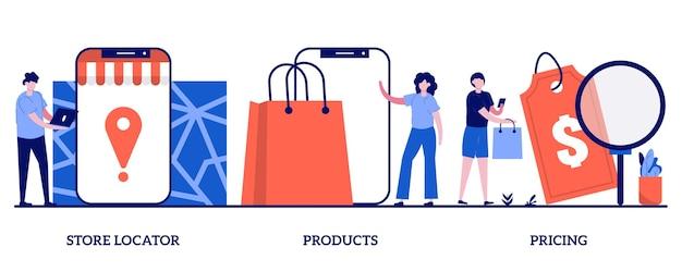 Lokalizator sklepów, produkt, ilustracja cen z malutkimi ludźmi
