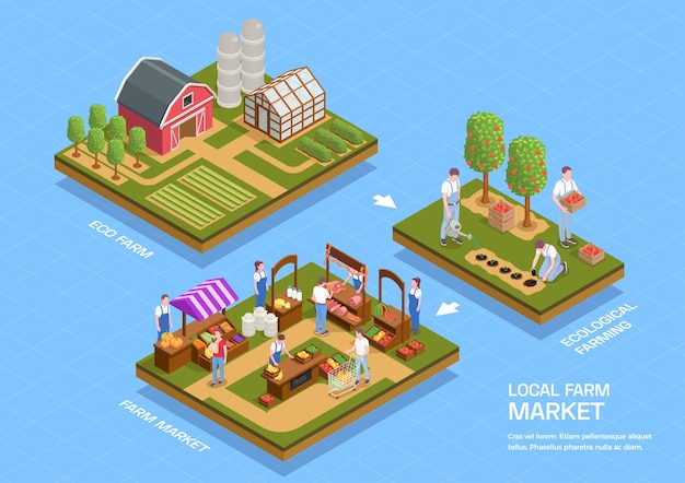 Lokalne obiekty wiejskie izometryczna ilustracja infografika