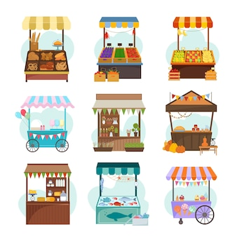 Lokalne rynki z różnymi zestawami płaskich ilustracji żywności. targ owoców i warzyw.