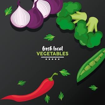 Lokalne świeże warzywa na czarnym stole, ilustracja
