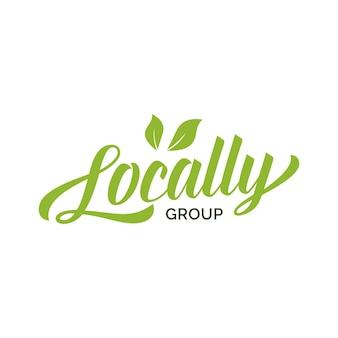Lokalnie napis grupowy z zielonymi liśćmi