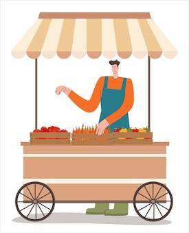 Lokalny rolnik sprzedaje warzywa w namiocie z żywnością ekologiczną na targu nowoczesne płaskie wektor ilustracja i...
