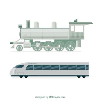 Lokomotywa i nowoczesny pociąg w płaskim stylu