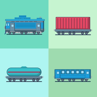 Lokomotywa wagon osobowy cysterna zestaw do transportu kolejowego.