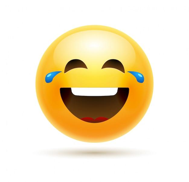 Lol emoji ikona uśmiech twarz. emotikon żart szczęśliwy kreskówka lol emoji śmieszne ilustracja