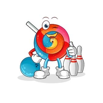 Lollipop gra w kręgle ilustracja