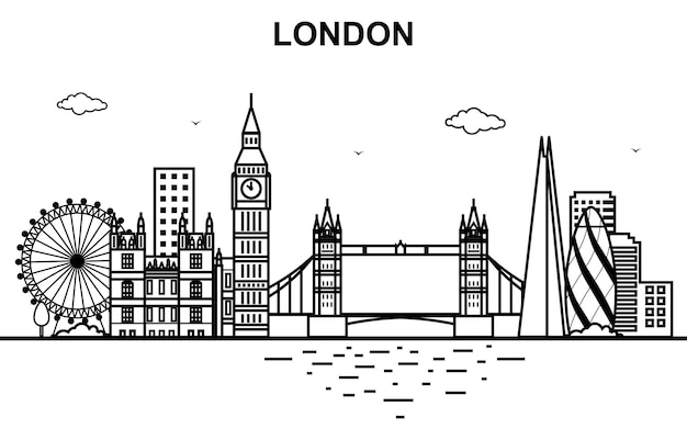 London city tour cityscape skyline line outline