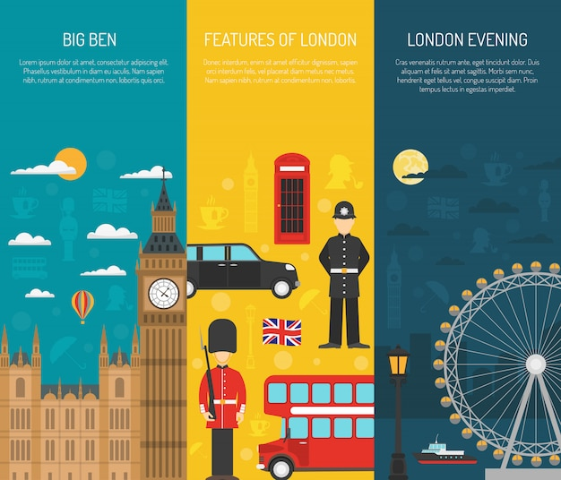 London sightseeing 3 zestaw pionowych banerów
