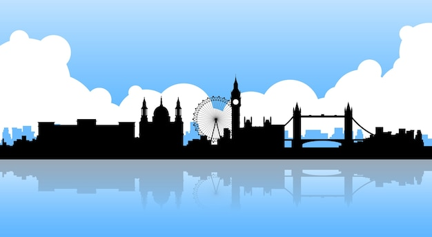 London silhouette english city view copy space