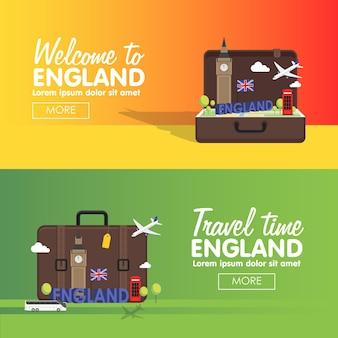 Londyn, anglia wektor zestaw ikon miejsc podróży, elementy graficzne informacje o podróży do anglii.