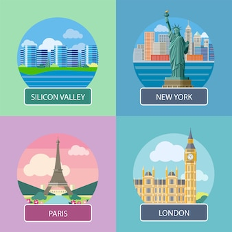 Londyn, dolina krzemowa, nowy jork i paryż