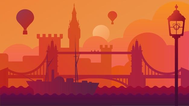 Londyn krajobraz z wektorem budynku i rzeki. łódź unosząca się na tamizie w pobliżu wieży mostowej i zamku, balon latający na niebie, stolica wielkiej brytanii. ilustracja kreskówka płaski nasyp miasta