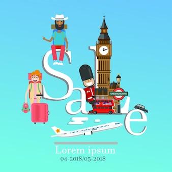 Londyn plansza sprzedaż napis i znanych zabytków