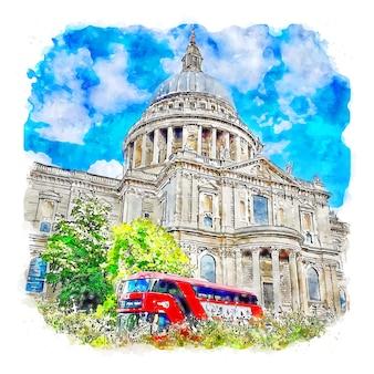 Londyn wielka brytania akwarela szkic ręcznie rysowane ilustracja