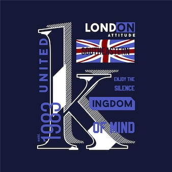 Londyn wielka brytania projekt graficzny typografia abstrakcyjna flaga t shirt nowoczesny styl