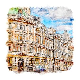 Londyn wielka brytania szkic akwarela ręcznie rysowane ilustracja