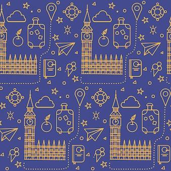 Londyński bezszwowy wzór z big ben, parlamentu budynkiem i podróż elementami