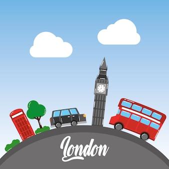 Londyński big ben dwoistego decker autobusu taxi telefonicznego budka drzewa niebo
