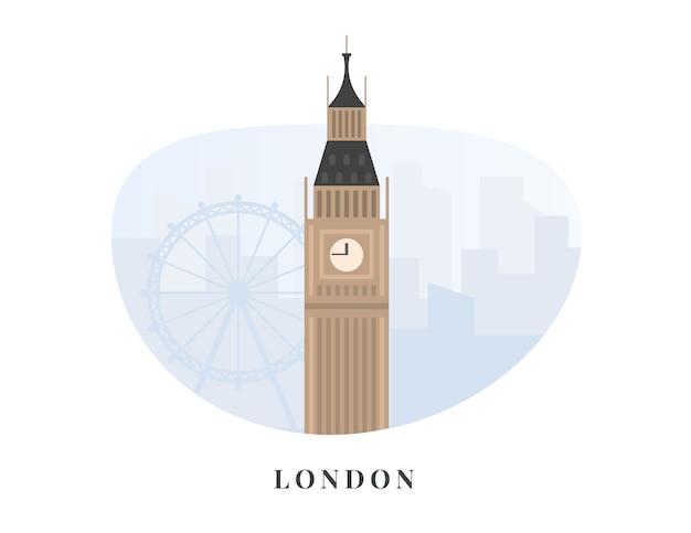 Londyński big ben na błękitnym pejzażu miejskim. nowoczesne mieszkanie. szablon biznes dla anglii i wielkiej brytanii zabytków panoramę, atrakcją turystyczną.