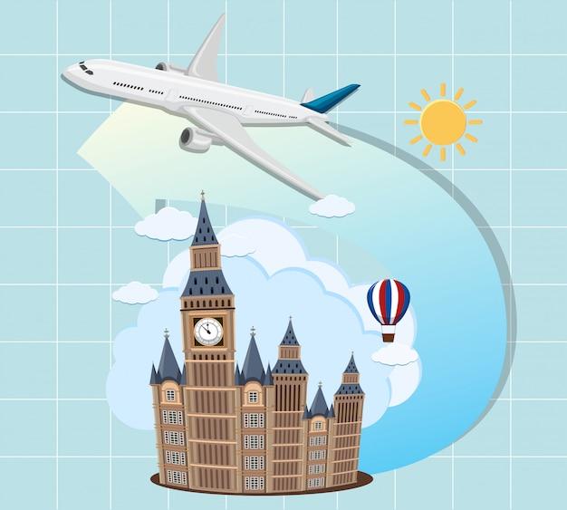 Londyńskie zabytki z samolotem