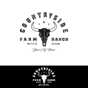Longhorn bull buffalo cow czaszka dla projektu logo western countryside farm ranch country