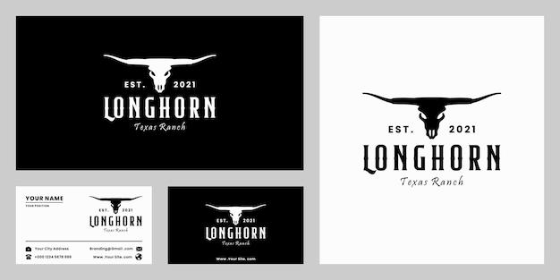 Longhorn, ranczo w teksasie, rolnictwo, projektowanie logo bawołów w stylu retro