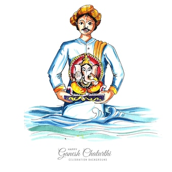 Lord ganesh chaturthi indyjski festiwal celebracja karty tło