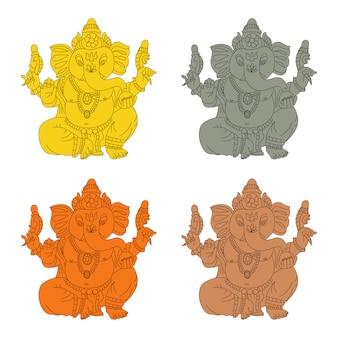 Lord ganesha wektor kreskówka zestaw złota, kamienia, brązu i drewniany bożek.