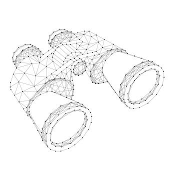 Lornetka, koncepcja wyszukiwania z streszczenie futurystyczne wielokątne czarne linie i kropki. ilustracji wektorowych.