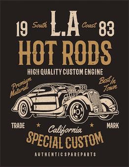 Los angeles hot rods. wysokiej jakości silnik niestandardowy. vintage ilustracja projektu