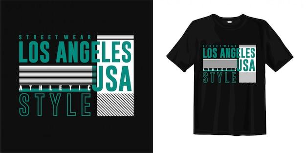 Los angeles - streetwear, atletyczny styl, usa. stylowa, modna koszulka z nadrukiem