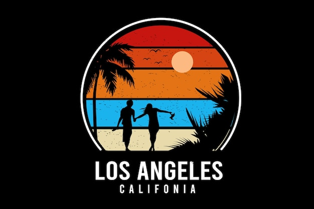 Los angeles w kalifornii kolor żółty i niebieski pomarańczowy