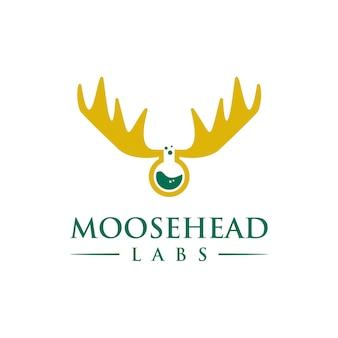 Łoś i laboratoria proste, gładkie, kreatywne, geometryczne, nowoczesne projektowanie logo