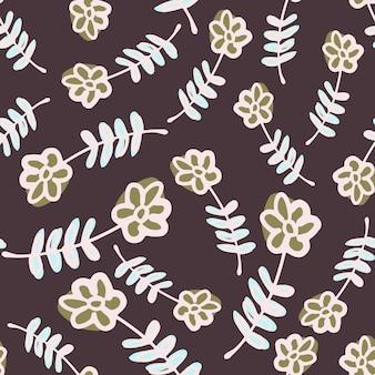 Losowe dzikie kwiaty biały ornament wzór. brązowe tło. ilustracji. projekt wektor dla tekstyliów, tkanin, prezentów, tapet.