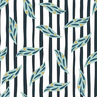 Losowe niebieskie elementy liści bez szwu doodle wzór