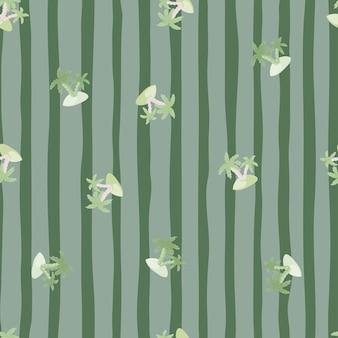 Losowe palmy i wyspy wydrukuj bezszwowe doodle wzór. pasiaste zielone i niebieskie tło. przeznaczony do projektowania tkanin, nadruków na tekstyliach, zawijania, okładek. ilustracja wektorowa.