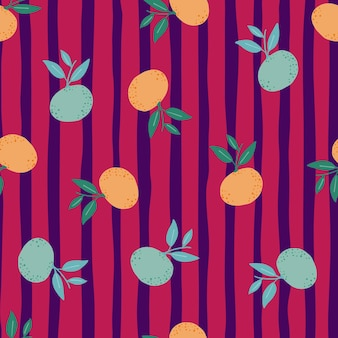 Losowe pomarańczowy i niebieski mandarynki sylwetki wzór. jasne różowe paski tle.