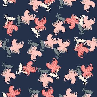 Losowe różowe kwiaty chryzantemy kształty elementów. granatowe tło. kwiatowy romantyczny tło. płaski nadruk wektorowy na tekstylia, tkaniny, opakowania na prezenty, tapety. niekończąca się ilustracja.
