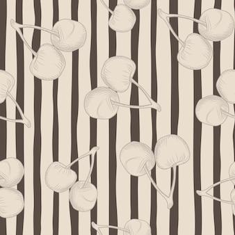 Losowe wiśniowe sylwetka wzór. jasnoróżowe tło z czarnymi paskami.