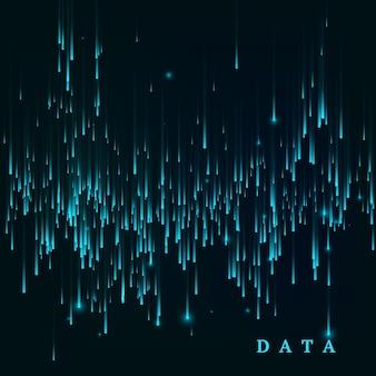 Losowo generowany strumień bloków danych. abstrakcyjna macierz. wizualizacja dużych zbiorów danych. sci-fi lub futurystyczne streszczenie tło w kolorach niebieskim. ilustracja wertora