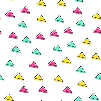 Losowy wzór trójkąta, abstrakcyjne tło geometryczne w stylu retro lat 80-tych, 90-tych. kolorowa ilustracja geometryczna
