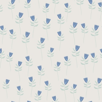 Losowy wzór z kształtami małe niebieskie kwiaty. szare tło. ręcznie rysowane grafiki.